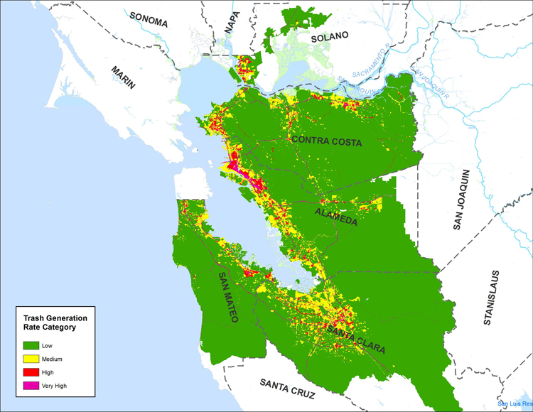 Areas generating the most trash in the Bay Area are residential and retail sections of low-income, urban neighborhoods, as shown on this draft map. Credit: Chris Sommers, EOA, Inc.