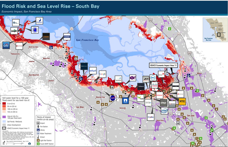Many of Silicon Valley's largest companies are located just a few miles from the Bay shoreline—and will be underwater in a few decades if additional flood protection measures aren't taken. Map by GreenInfo.org, with support from Resources Legacy Fund, 2012