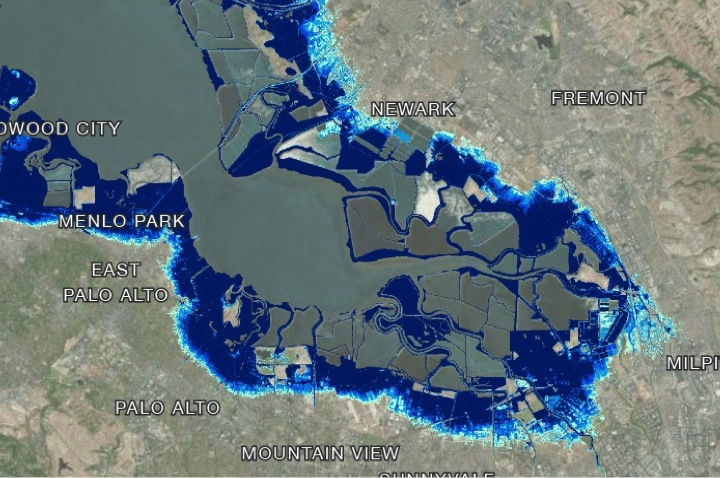 Most built shorelines in the South Bay are protected from inundation only by substandard levees or fledgling wetlands, with some areas already below sea level due to groundwater extraction. Credit: BCDC and Noah Knowles, USGS