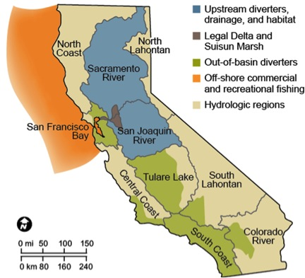 Most Californians rely on Delta resources, giving the majority of the state's population a stake in its fate. [Credit: Hanak et al. 2013, Stress Relief: Prescriptions for a Healthier Delta Ecosystem, PPIC