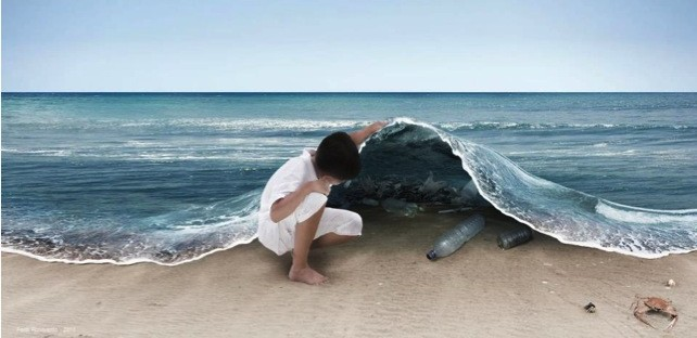 Plastics are among the most visible and insidious contaminants in our waterways and oceans.  Reducing our demand for plastics, as well as careful recycling, are easy remedies. Image credit: Ferdi Rizkiyanto