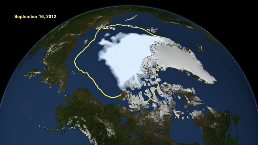 Arctic ice, which serves as Earth's air conditioner, reached the smallest extent recorded in three decades of monitoring in 2012. Image credit: NASA