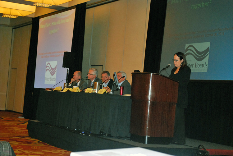 Felicia Marcus (at the podium) manages the One Estuary, Many Plans panel. From left to right, Bonham, Cowin, Knopp, Machado. Image credit: SFEP