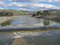Inflatable dam in Alameda County flood control channel. Photo by Brian Sak.