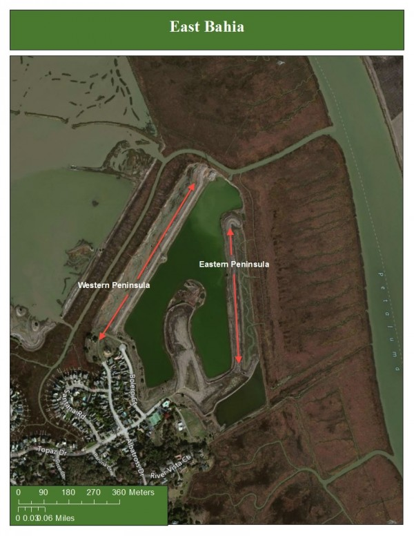 Figure 2: This is the East Bahia Marsh. The project area is indicated by the two red arrows labeled east and west peninsula. Surrounding this project site, you will see restored wetland, housing developments, and the Petaluma river to the East.