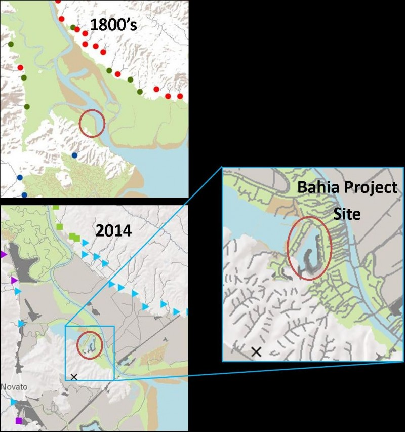 3 maps. First 1800's showing wetlands. Second 2014 showing current day wetlands. Third, showing the expanded Eastern Bahia project site