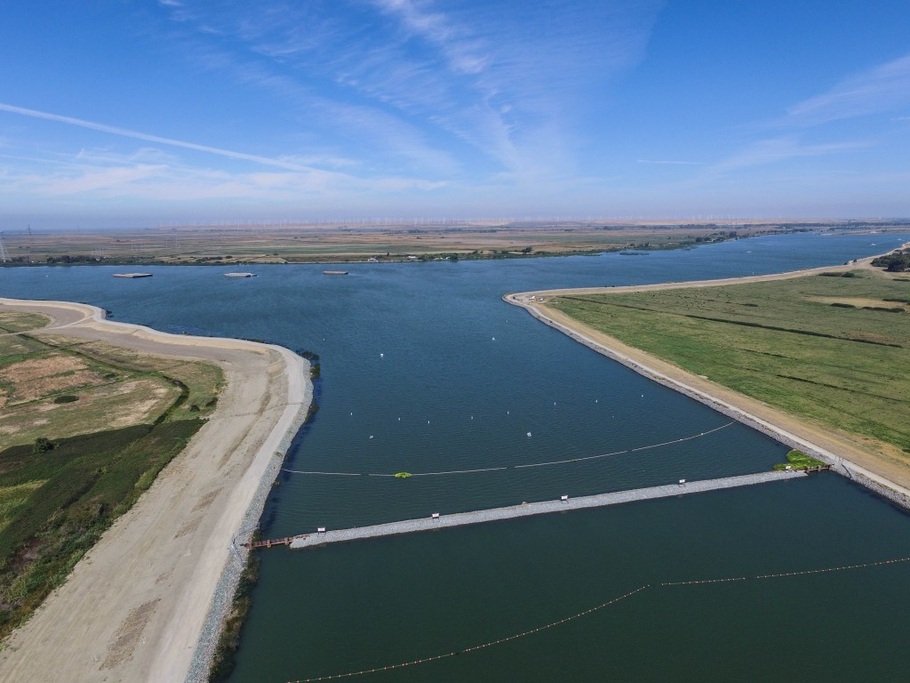False River emergency salinity barrier. Photo: Bird's Eye View