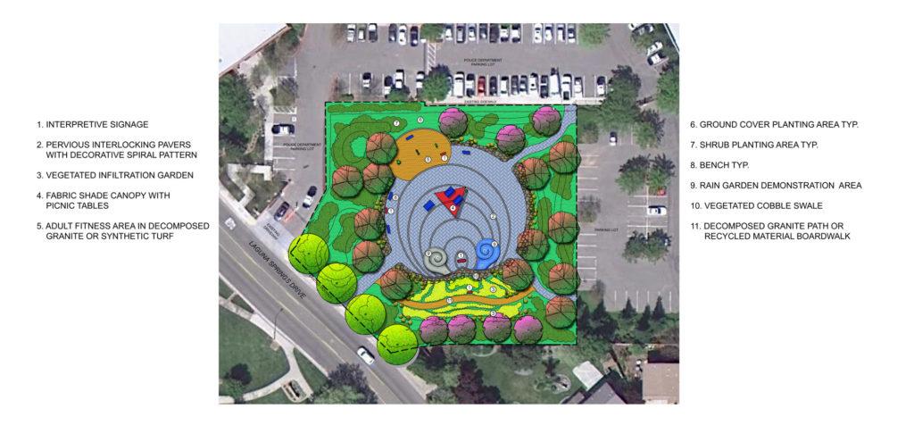 Elk Grove rain garden plaza conceptual plan.
