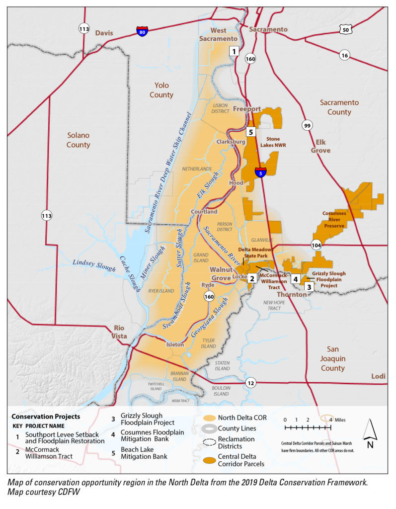 Conservation opportunity region in the North Delta from the 2019 Delta Conservation Framework