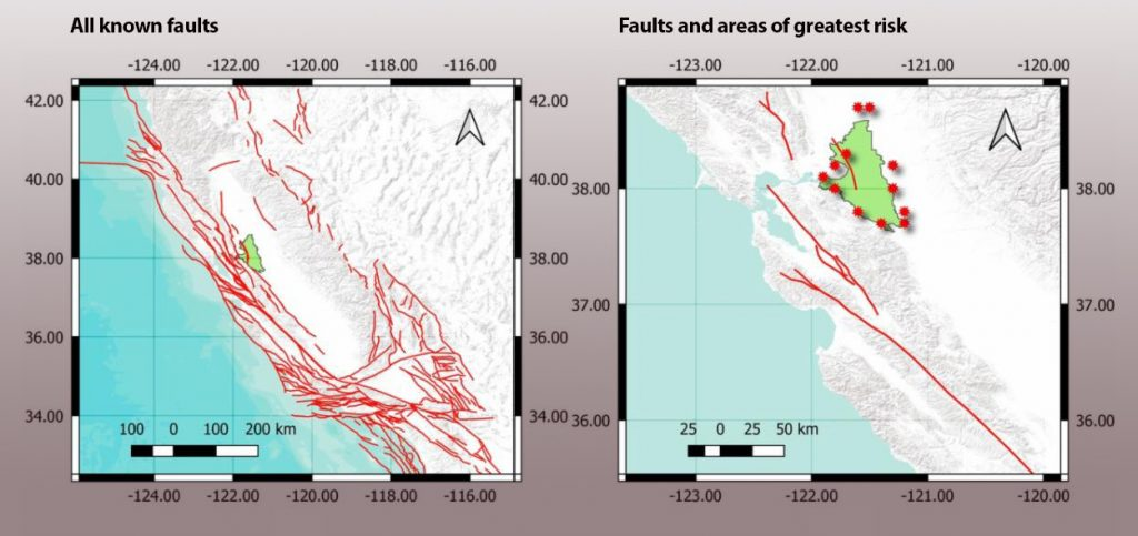 faults and levee hazards maps delta